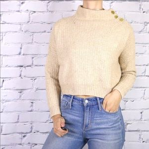 NWT wool blend beige knit mock neck sweater b1